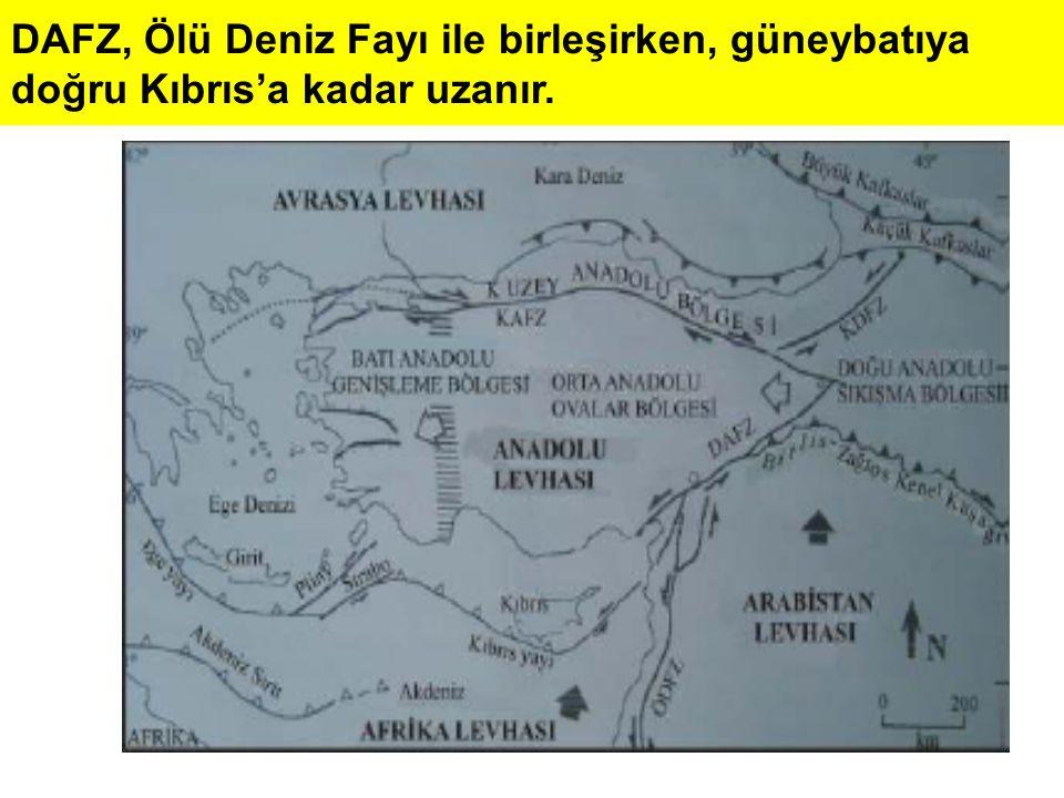 DAFZ, Ölü Deniz Fayı ile birleşirken, güneybatıya doğru Kıbrıs'a kadar uzanır.