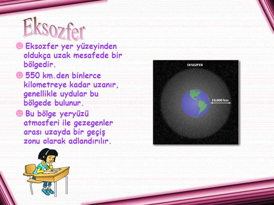 ☻ Eksozfer yer yüzeyinden oldukça uzak mesafede bir bölgedir. ☻ 550 km.den binlerce kilometreye kadar uzanır, genellikle uydular bu bölgede bulunur. ☻