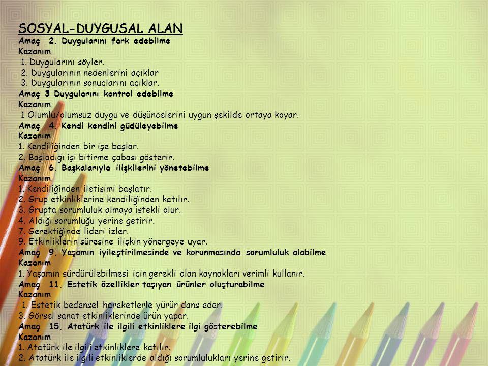 SOSYAL-DUYGUSAL ALAN Amaç 2. Duygularını fark edebilme Kazanım 1. Duygularını söyler. 2. Duygularının nedenlerini açıklar 3. Duygularının sonuçlarını