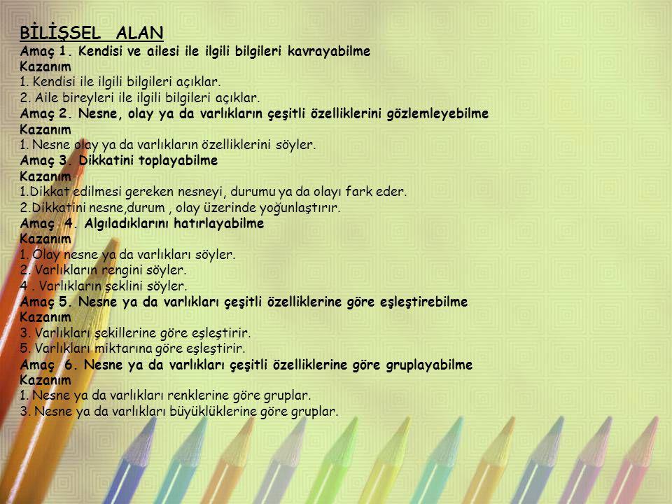 BİLİŞSEL ALAN Amaç 7.