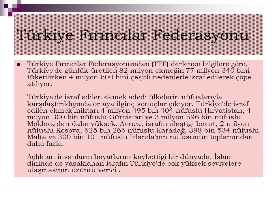 Türkiye Fırıncılar Federasyonu Türkiye Fırıncılar Federasyonundan (TFF) derlenen bilgilere göre, Türkiye'de günlük üretilen 82 milyon ekmeğin 77 milyo