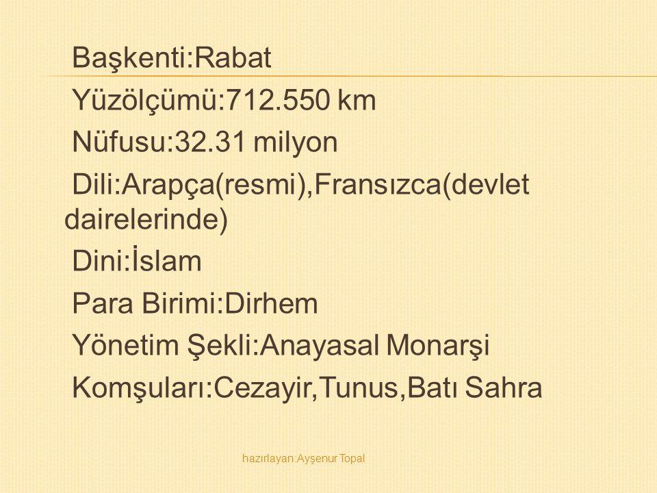 Başkenti:Rabat Yüzölçümü:712.550 km Nüfusu:32.31 milyon Dili:Arapça(resmi),Fransızca(devlet dairelerinde) Dini:İslam Para Birimi:Dirhem Yönetim Şekli: