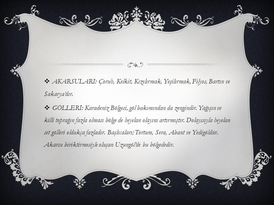  AKARSULARI: Çoruh, Kelkit, Kızılırmak, Yeşilırmak, Filyos, Bartın ve Sakarya'dır.  GÖLLERİ: Karadeniz Bölgesi, göl bakımından da zengindir. Yağışın