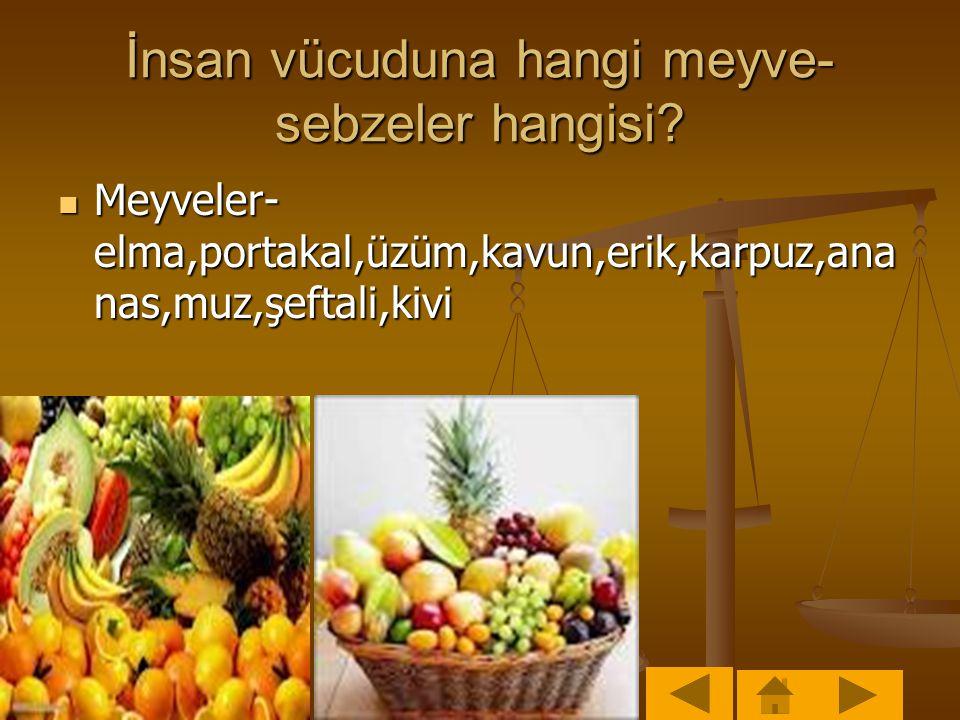 İnsan vücuduna hangi meyve- sebzeler hangisi.