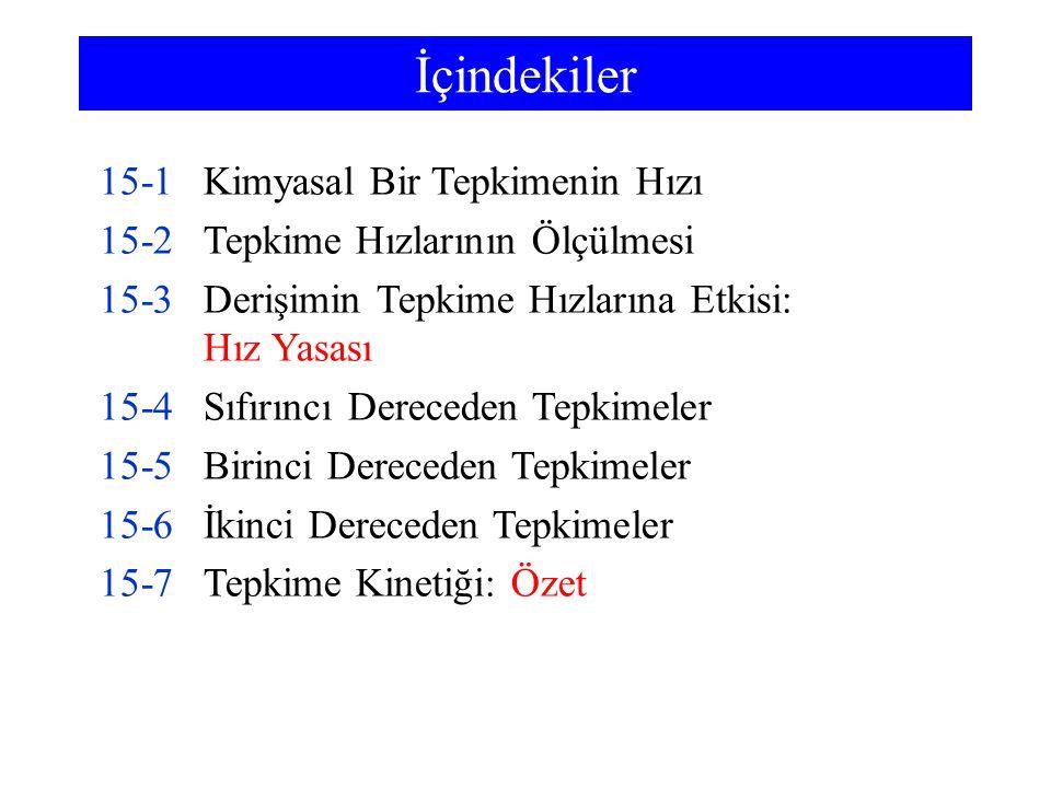 İçindekiler 15-8Kimyasal Kinetikte Kuramsal Modeller 15-9Sıcaklığın Tepkime Hızlarına Etkisi 15-10Tepkime Mekanizmaları 15-11Kataliz