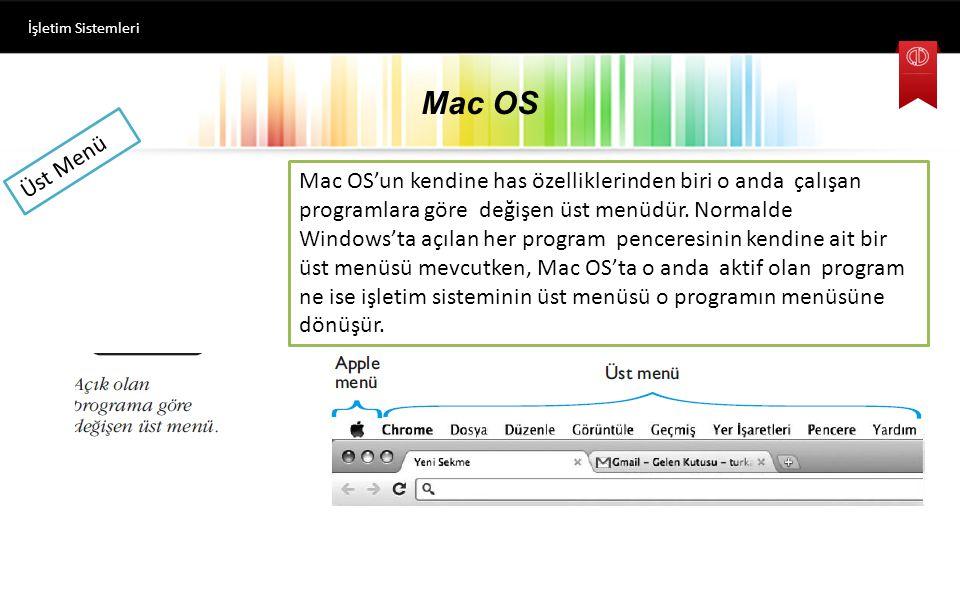 Mac OS İşletim Sistemleri Üst Menü Mac OS'un kendine has özelliklerinden biri o anda çalışan programlara göre değişen üst menüdür.