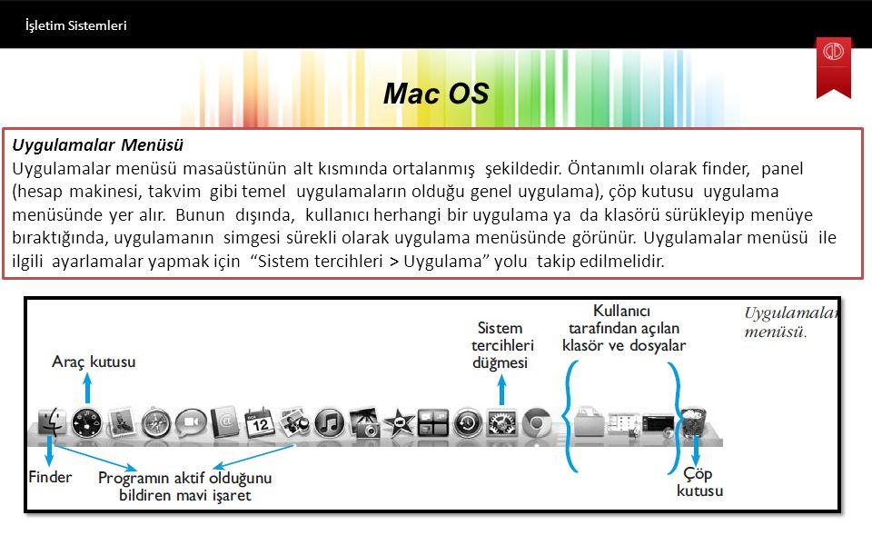 Mac OS İşletim Sistemleri Uygulamalar Menüsü Uygulamalar menüsü masaüstünün alt kısmında ortalanmış şekildedir.