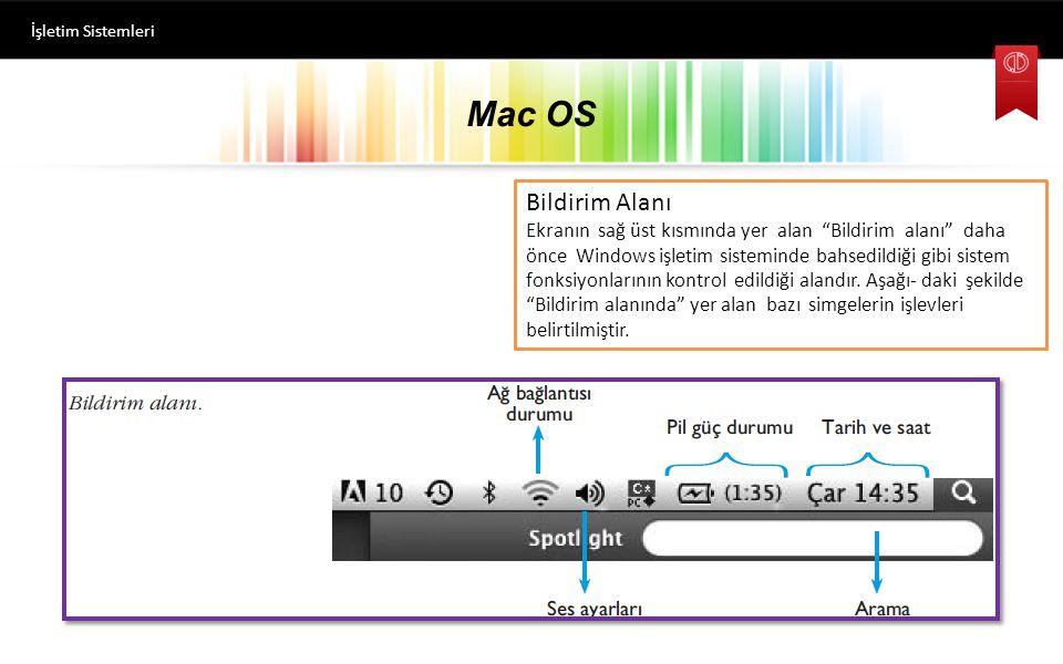 Mac OS İşletim Sistemleri Bildirim Alanı Ekranın sağ üst kısmında yer alan Bildirim alanı daha önce Windows işletim sisteminde bahsedildiği gibi sistem fonksiyonlarının kontrol edildiği alandır.
