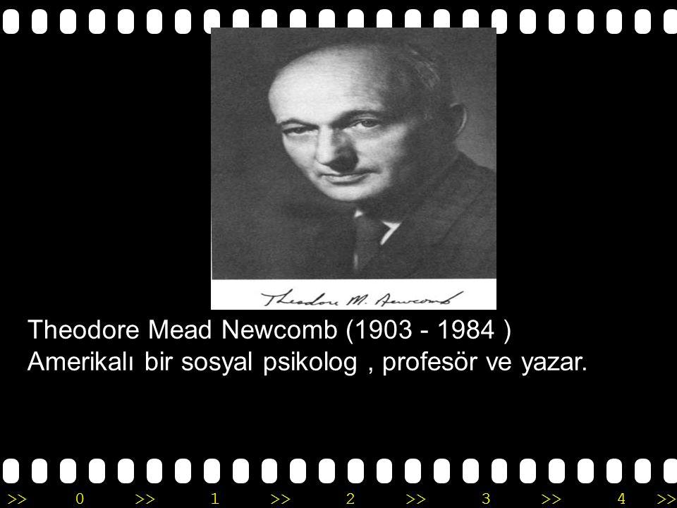 >>0 >>1 >> 2 >> 3 >> 4 >> Theodore Mead Newcomb (1903 - 1984 ) Amerikalı bir sosyal psikolog, profesör ve yazar.