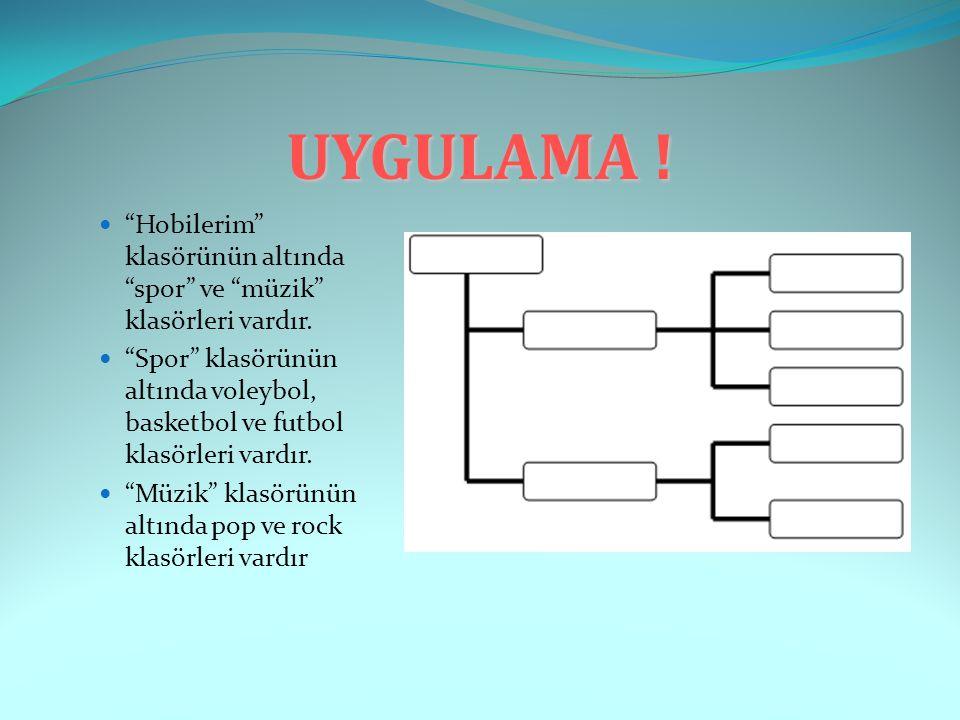 """UYGULAMA ! """"Hobilerim"""" klasörünün altında """"spor"""" ve """"müzik"""" klasörleri vardır. """"Spor"""" klasörünün altında voleybol, basketbol ve futbol klasörleri vard"""