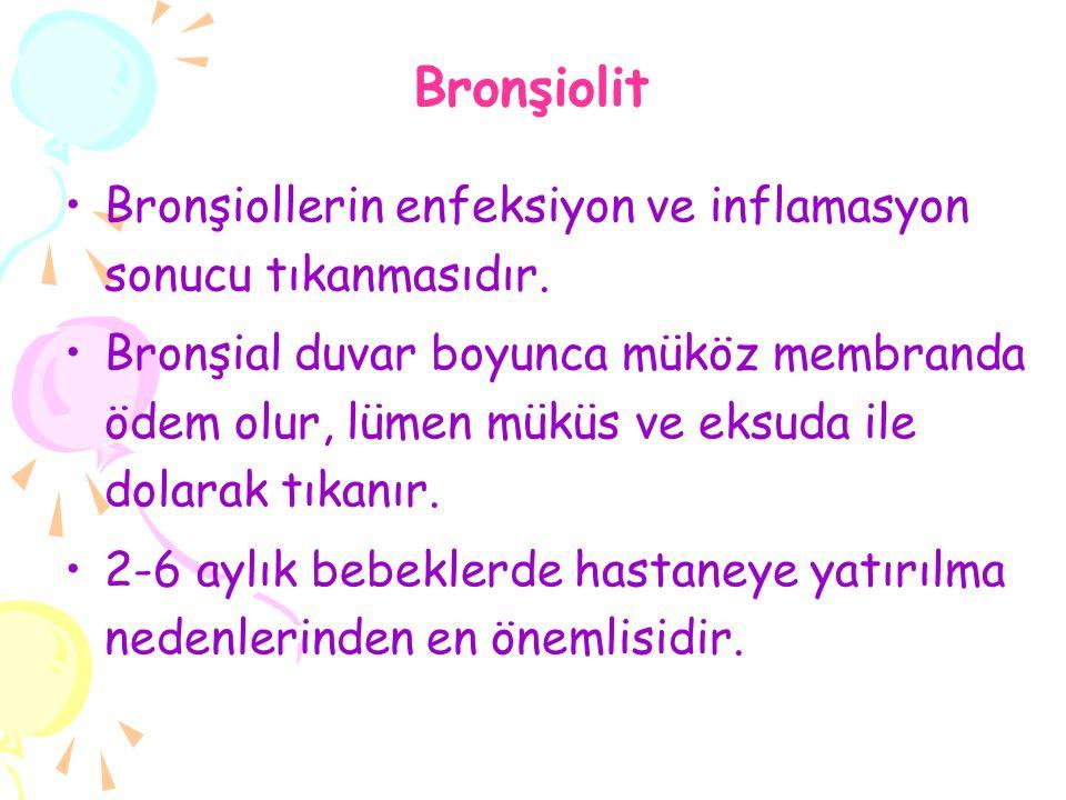 Bronşiolit Bronşiollerin enfeksiyon ve inflamasyon sonucu tıkanmasıdır. Bronşial duvar boyunca müköz membranda ödem olur, lümen müküs ve eksuda ile do