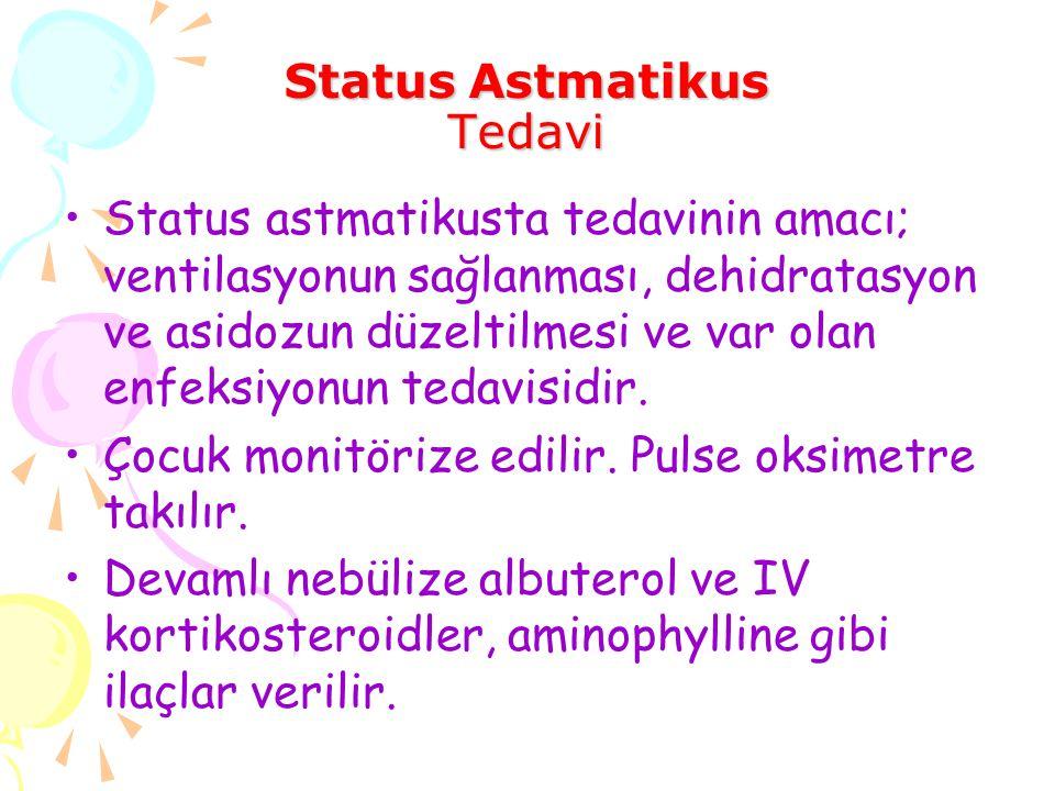Status Astmatikus Tedavi Status astmatikusta tedavinin amacı; ventilasyonun sağlanması, dehidratasyon ve asidozun düzeltilmesi ve var olan enfeksiyonu