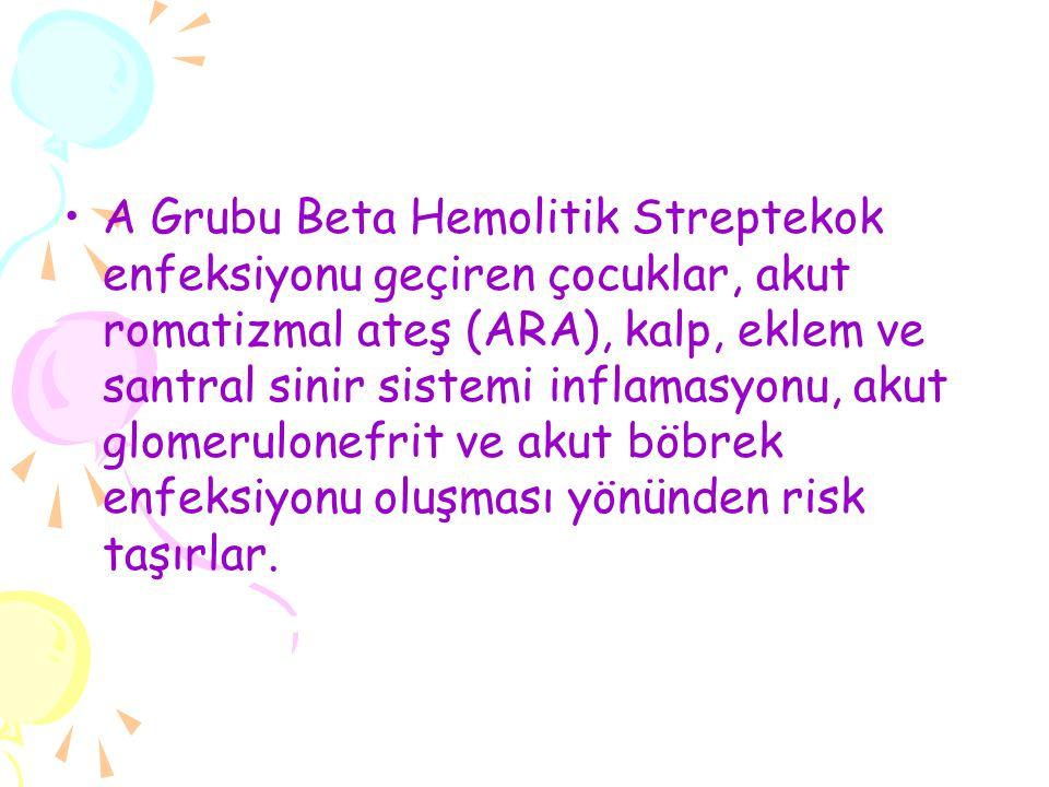 A Grubu Beta Hemolitik Streptekok enfeksiyonu geçiren çocuklar, akut romatizmal ateş (ARA), kalp, eklem ve santral sinir sistemi inflamasyonu, akut gl