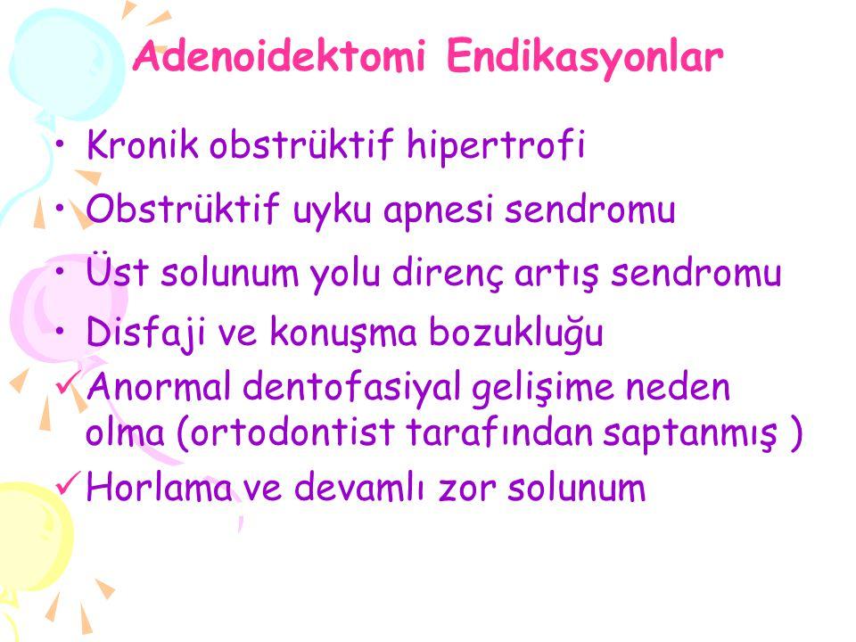 Adenoidektomi Endikasyonlar Kronik obstrüktif hipertrofi Obstrüktif uyku apnesi sendromu Üst solunum yolu direnç artış sendromu Disfaji ve konuşma boz