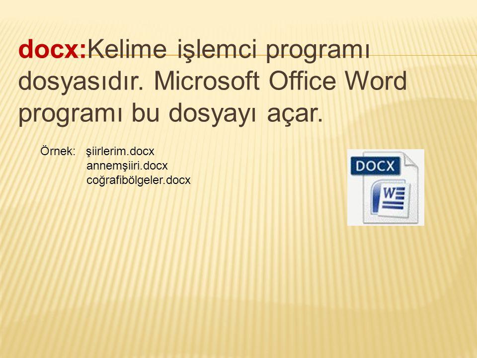 docx:Kelime işlemci programı dosyasıdır. Microsoft Office Word programı bu dosyayı açar. Örnek: şiirlerim.docx annemşiiri.docx coğrafibölgeler.docx