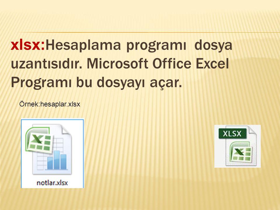 xlsx: Hesaplama programı dosya uzantısıdır. Microsoft Office Excel Programı bu dosyayı açar. Örnek:hesaplar.xlsx