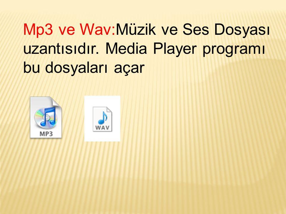 Mp3 ve Wav:Müzik ve Ses Dosyası uzantısıdır. Media Player programı bu dosyaları açar