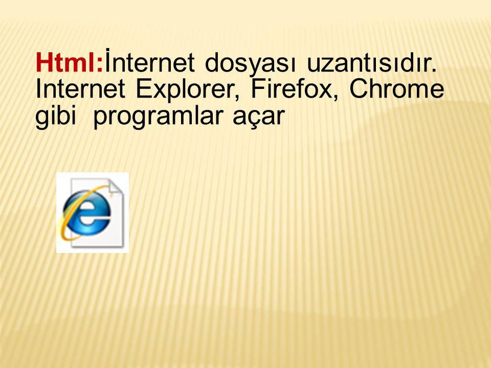 Html:İnternet dosyası uzantısıdır. Internet Explorer, Firefox, Chrome gibi programlar açar