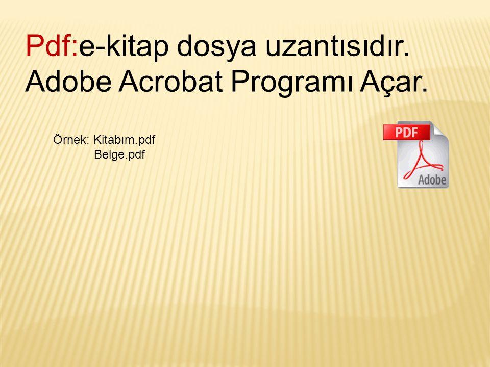Pdf:e-kitap dosya uzantısıdır. Adobe Acrobat Programı Açar. Örnek: Kitabım.pdf Belge.pdf