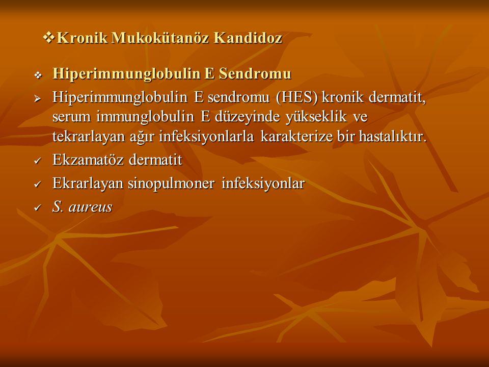  Kronik Mukokütanöz Kandidoz  Hiperimmunglobulin E Sendromu  Hiperimmunglobulin E sendromu (HES) kronik dermatit, serum immunglobulin E düzeyinde y