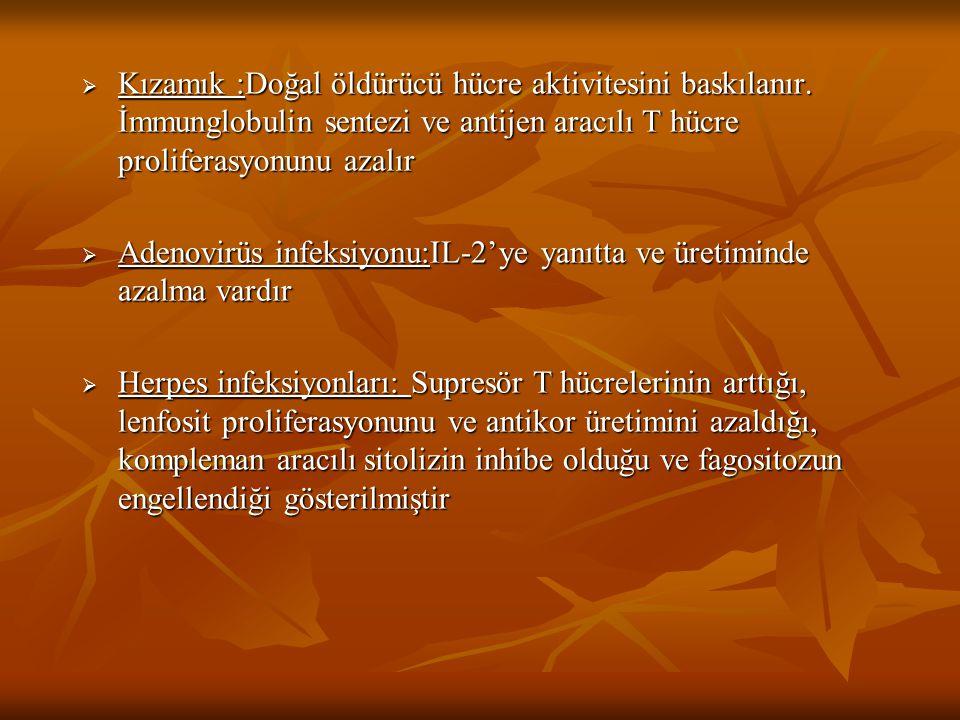  Kızamık :Doğal öldürücü hücre aktivitesini baskılanır. İmmunglobulin sentezi ve antijen aracılı T hücre proliferasyonunu azalır  Adenovirüs infeksi