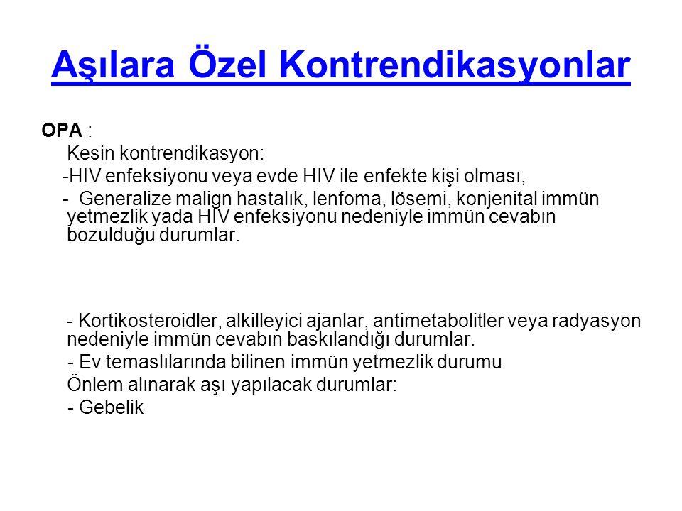Aşılara Özel Kontrendikasyonlar OPA : Kesin kontrendikasyon: -HIV enfeksiyonu veya evde HIV ile enfekte kişi olması, - Generalize malign hastalık, len