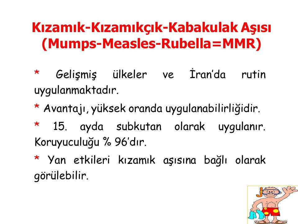 Kızamık-Kızamıkçık-Kabakulak Aşısı (Mumps-Measles-Rubella=MMR) * Gelişmiş ülkeler ve İran'da rutin uygulanmaktadır. * Avantajı, yüksek oranda uygulana