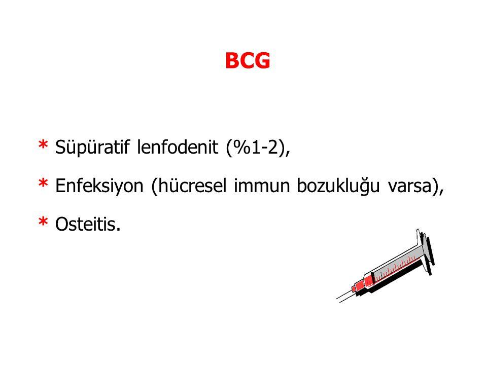 BCG * Süpüratif lenfodenit (%1-2), * Enfeksiyon (hücresel immun bozukluğu varsa), * Osteitis.