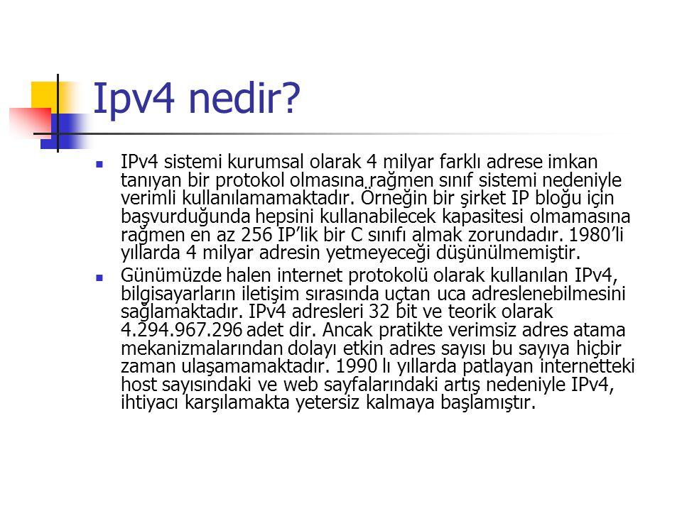 Ipv4 nedir? IPv4 sistemi kurumsal olarak 4 milyar farklı adrese imkan tanıyan bir protokol olmasına rağmen sınıf sistemi nedeniyle verimli kullanılama