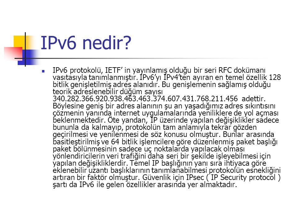 IPv6 nedir? IPv6 protokolü, IETF' in yayınlamış olduğu bir seri RFC dokümanı vasıtasıyla tanımlanmıştır. IPv6'yı IPv4'ten ayıran en temel özellik 128