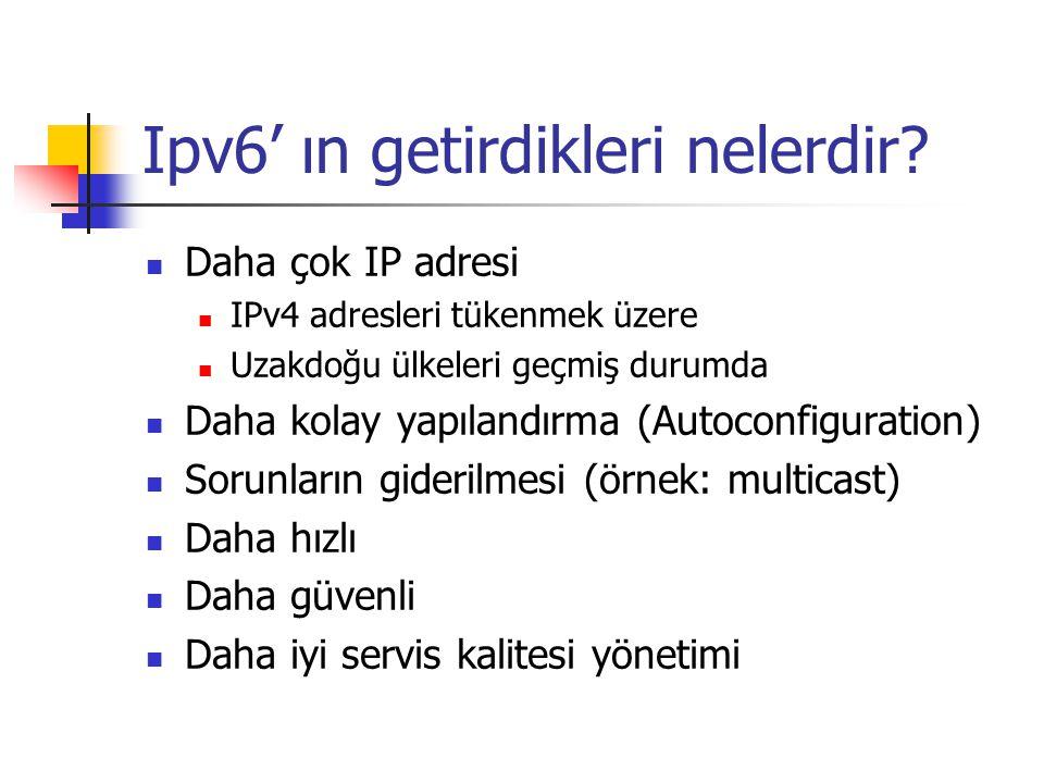 Ipv6' ın getirdikleri nelerdir? Daha çok IP adresi IPv4 adresleri tükenmek üzere Uzakdoğu ülkeleri geçmiş durumda Daha kolay yapılandırma (Autoconfigu