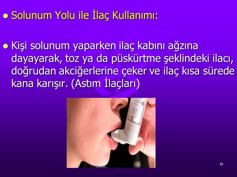 Solunum Yolu ile İlaç Kullanımı: Solunum Yolu ile İlaç Kullanımı: Kişi solunum yaparken ilaç kabını ağzına dayayarak, toz ya da püskürtme şeklindeki i