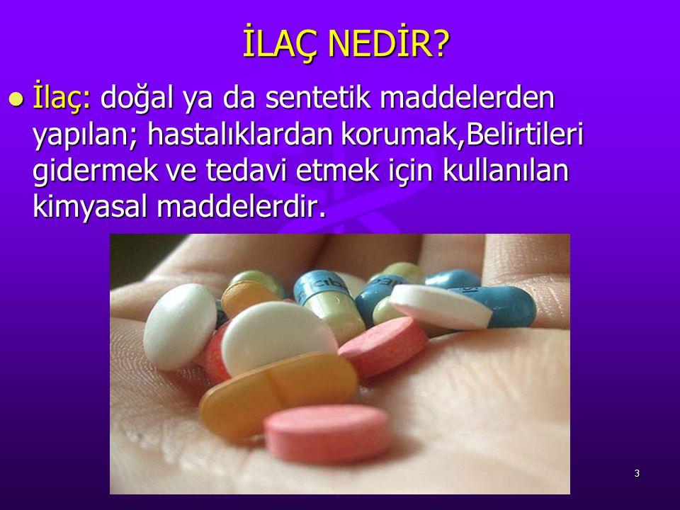 İLAÇ NEDİR? İLAÇ NEDİR? İlaç: doğal ya da sentetik maddelerden yapılan; hastalıklardan korumak,Belirtileri gidermek ve tedavi etmek için kullanılan ki