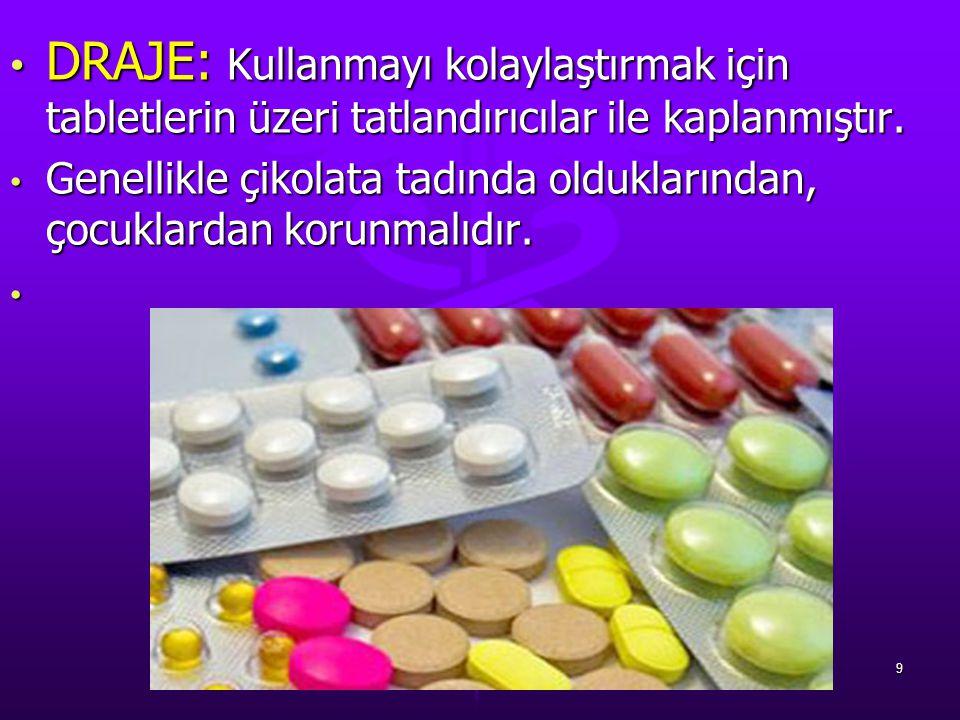 DRAJE: Kullanmayı kolaylaştırmak için tabletlerin üzeri tatlandırıcılar ile kaplanmıştır. DRAJE: Kullanmayı kolaylaştırmak için tabletlerin üzeri tatl