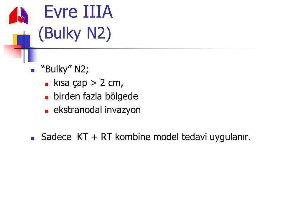 """""""Bulky"""" N2; kısa çap > 2 cm, birden fazla bölgede ekstranodal invazyon Sadece KT + RT kombine model tedavi uygulanır. Evre IIIA (Bulky N2)"""
