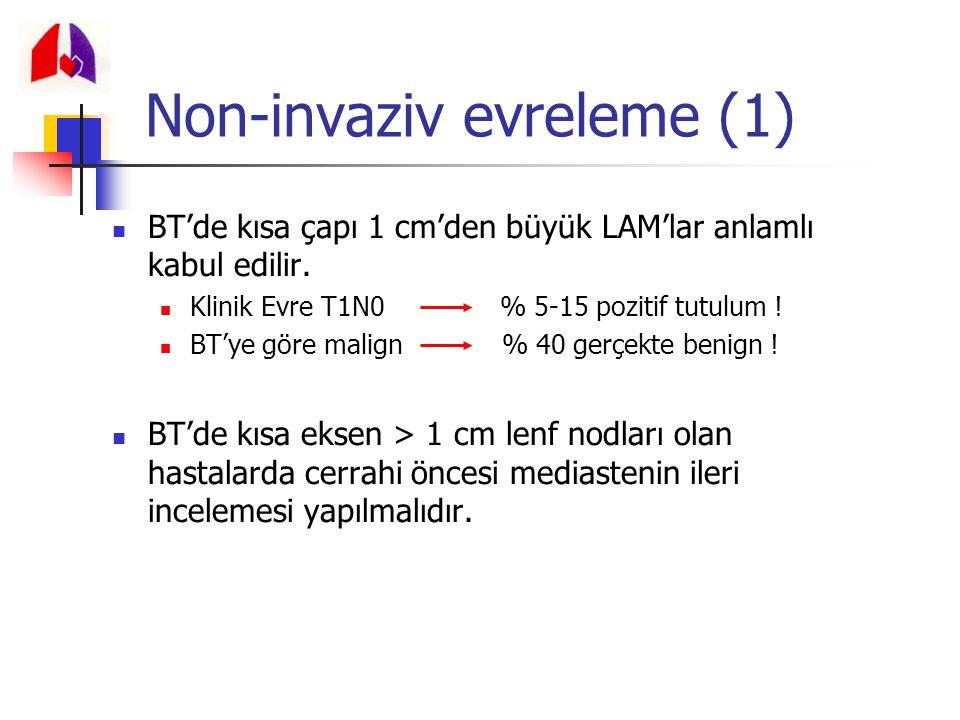 Non-invaziv evreleme (1) BT'de kısa çapı 1 cm'den büyük LAM'lar anlamlı kabul edilir. Klinik Evre T1N0 % 5-15 pozitif tutulum ! BT'ye göre malign % 40