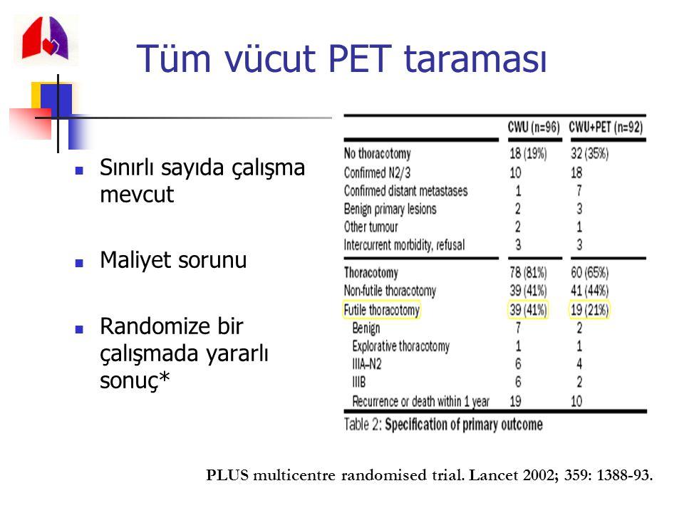 Tüm vücut PET taraması Sınırlı sayıda çalışma mevcut Maliyet sorunu Randomize bir çalışmada yararlı sonuç* PLUS multicentre randomised trial. Lancet 2