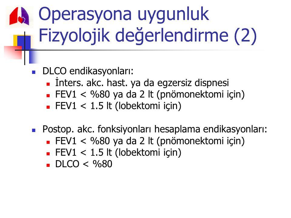 DLCO endikasyonları: İnters. akc. hast. ya da egzersiz dispnesi FEV1 < %80 ya da 2 lt (pnömonektomi için) FEV1 < 1.5 lt (lobektomi için) Postop. akc.