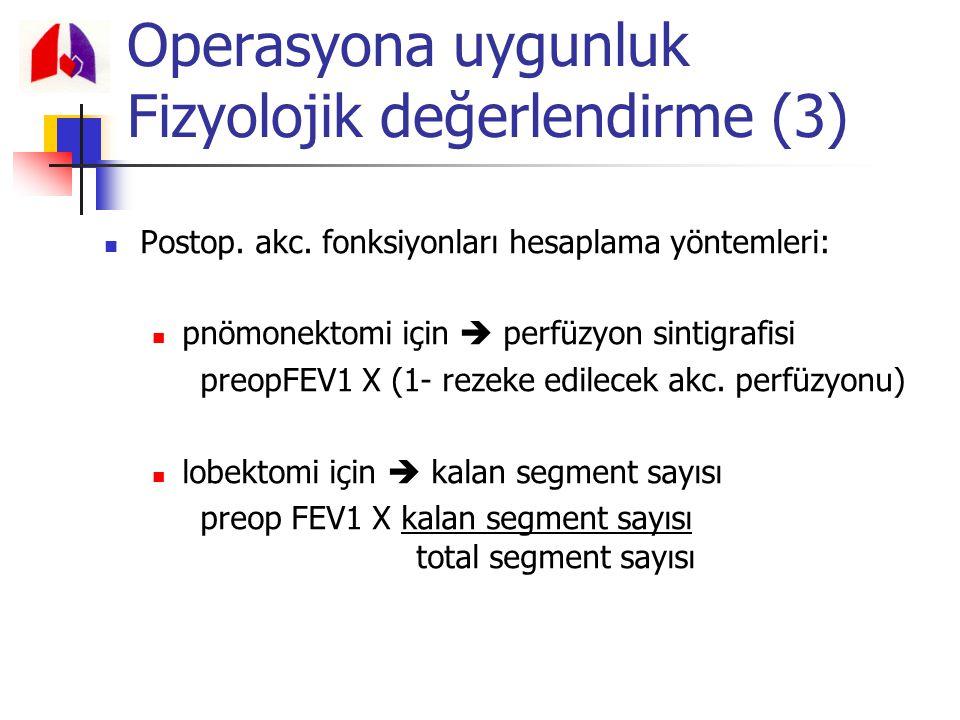 Postop. akc. fonksiyonları hesaplama yöntemleri: pnömonektomi için  perfüzyon sintigrafisi preopFEV1 X (1- rezeke edilecek akc. perfüzyonu) lobektomi