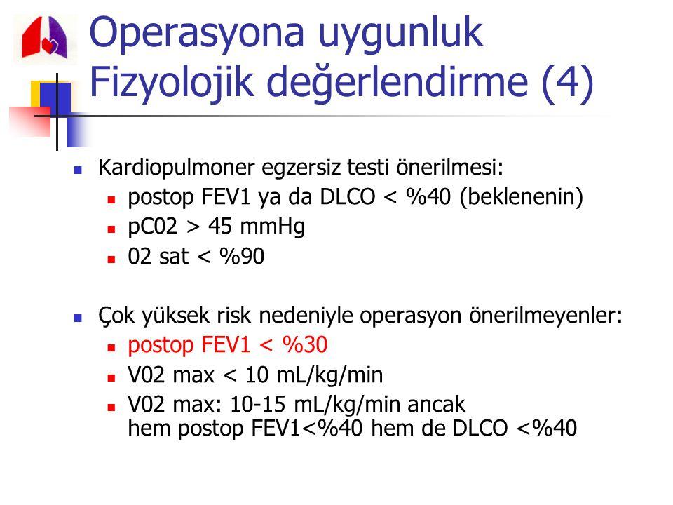 Kardiopulmoner egzersiz testi önerilmesi: postop FEV1 ya da DLCO < %40 (beklenenin) pC02 > 45 mmHg 02 sat < %90 Çok yüksek risk nedeniyle operasyon ön
