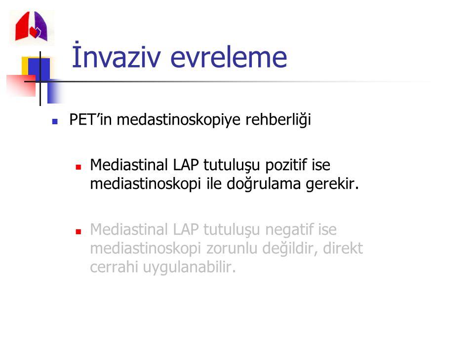 PET'in medastinoskopiye rehberliği Mediastinal LAP tutuluşu pozitif ise mediastinoskopi ile doğrulama gerekir. Mediastinal LAP tutuluşu negatif ise me