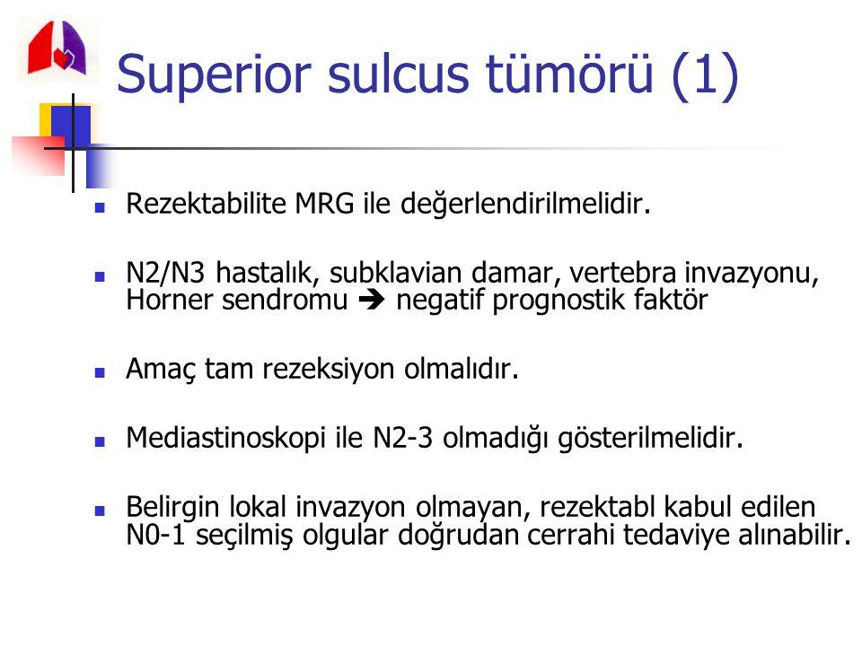 Rezektabilite MRG ile değerlendirilmelidir. N2/N3 hastalık, subklavian damar, vertebra invazyonu, Horner sendromu  negatif prognostik faktör Amaç tam