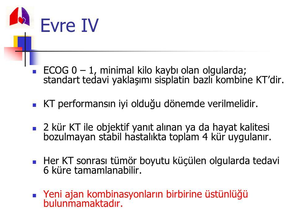 ECOG 0 – 1, minimal kilo kaybı olan olgularda; standart tedavi yaklaşımı sisplatin bazlı kombine KT'dir. KT performansın iyi olduğu dönemde verilmelid