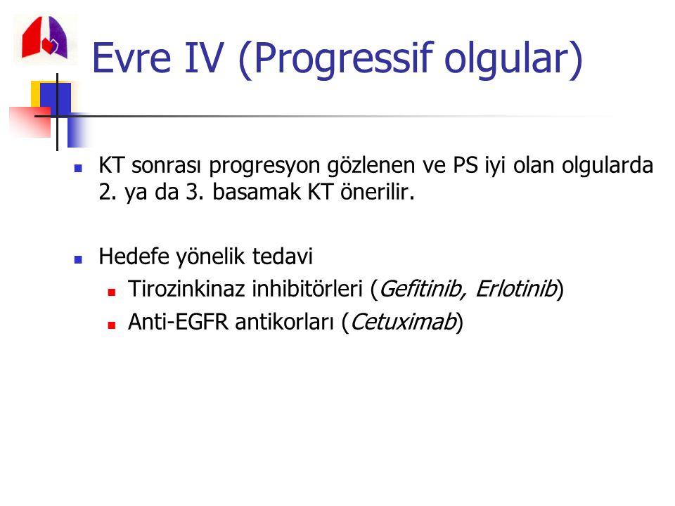 KT sonrası progresyon gözlenen ve PS iyi olan olgularda 2. ya da 3. basamak KT önerilir. Hedefe yönelik tedavi Tirozinkinaz inhibitörleri (Gefitinib,
