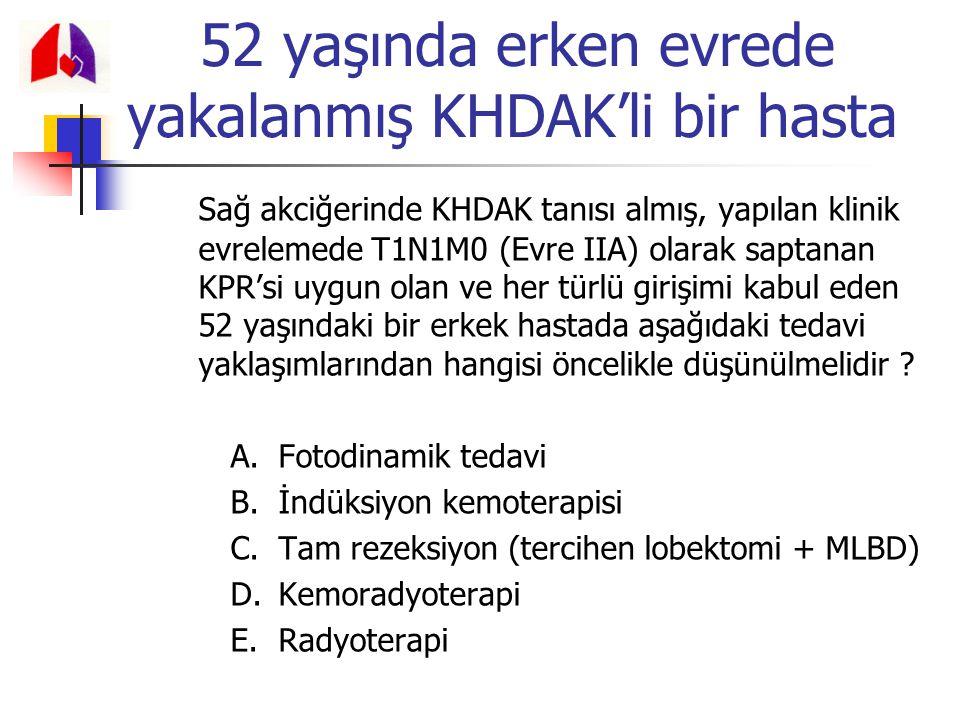 52 yaşında erken evrede yakalanmış KHDAK'li bir hasta Sağ akciğerinde KHDAK tanısı almış, yapılan klinik evrelemede T1N1M0 (Evre IIA) olarak saptanan