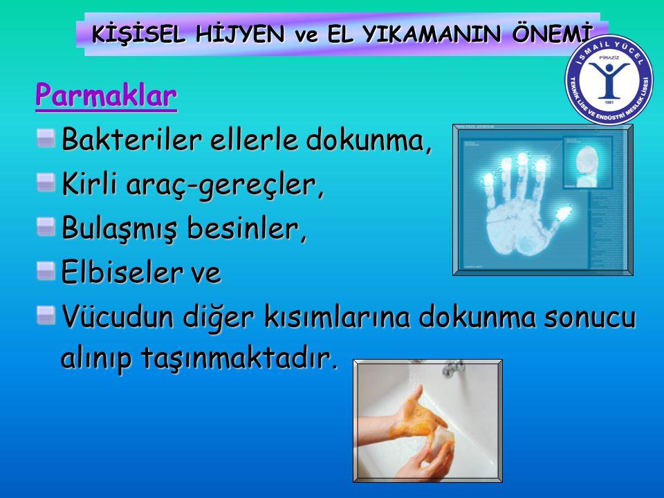 KİŞİSEL HİJYEN ve EL YIKAMANIN ÖNEMİ Parmaklar Bakteriler ellerle dokunma, Kirli araç-gereçler, Bulaşmış besinler, Elbiseler ve Vücudun diğer kısımlar