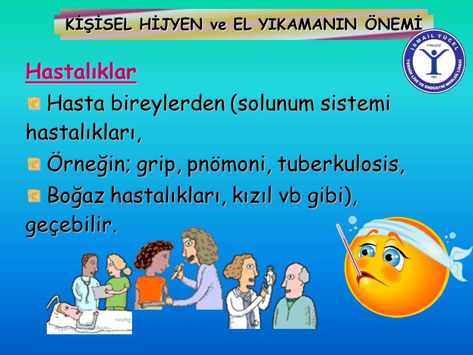 KİŞİSEL HİJYEN ve EL YIKAMANIN ÖNEMİ Hastalıklar Hasta bireylerden (solunum sistemi hastalıkları, Hasta bireylerden (solunum sistemi hastalıkları, Örn