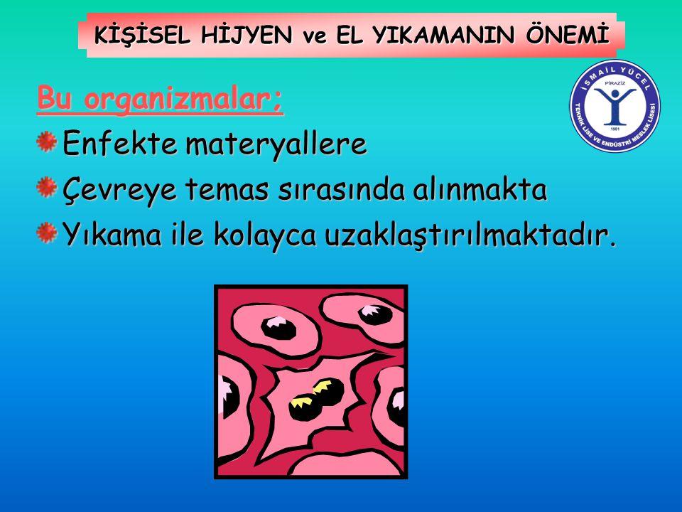 KİŞİSEL HİJYEN ve EL YIKAMANIN ÖNEMİ Bu organizmalar; Enfekte materyallere Çevreye temas sırasında alınmakta Yıkama ile kolayca uzaklaştırılmaktadır.