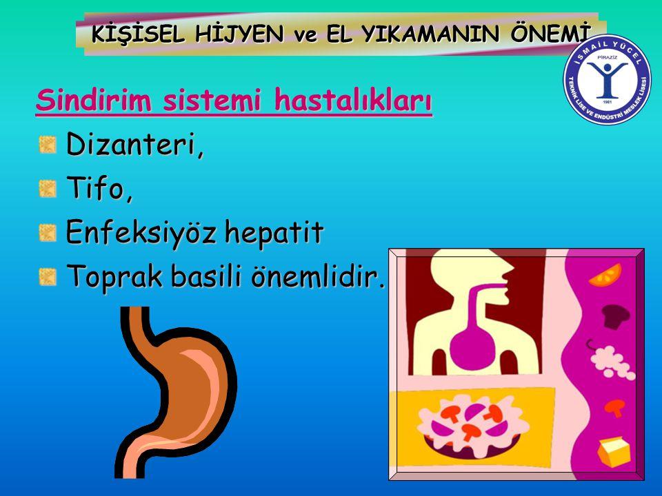 KİŞİSEL HİJYEN ve EL YIKAMANIN ÖNEMİ Sindirim sistemi hastalıkları Dizanteri, Dizanteri, Tifo, Tifo, Enfeksiyöz hepatit Enfeksiyöz hepatit Toprak basi