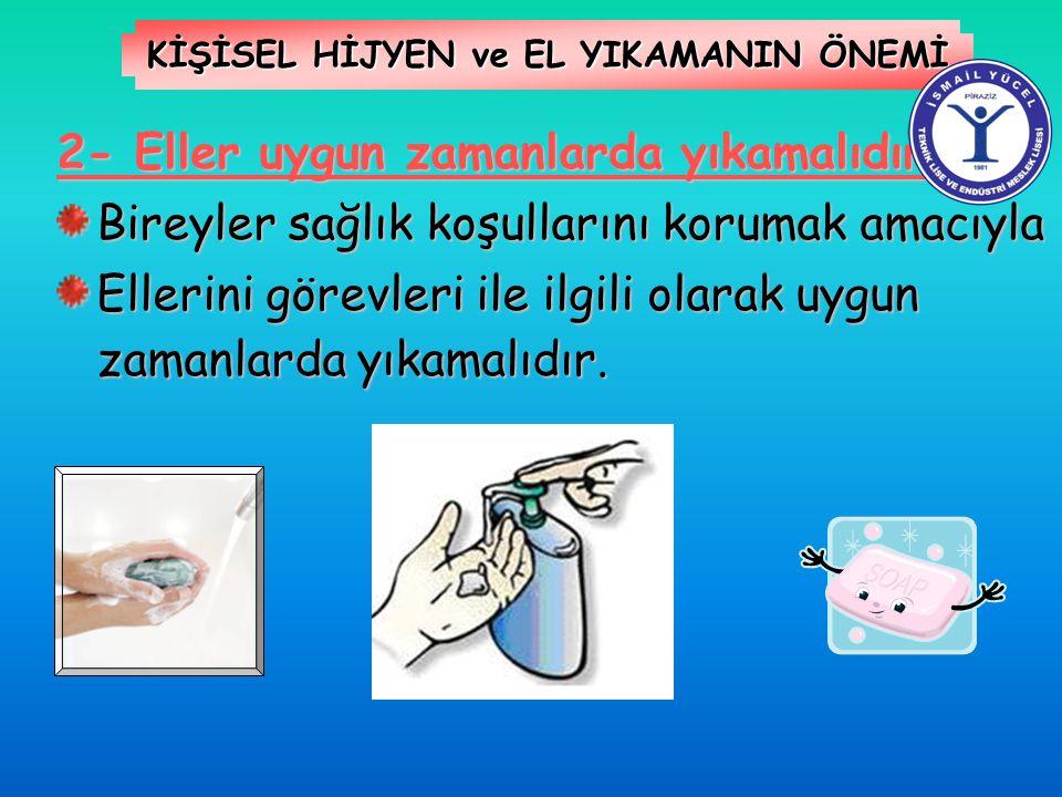 KİŞİSEL HİJYEN ve EL YIKAMANIN ÖNEMİ 2- Eller uygun zamanlarda yıkamalıdır Bireyler sağlık koşullarını korumak amacıyla Ellerini görevleri ile ilgili